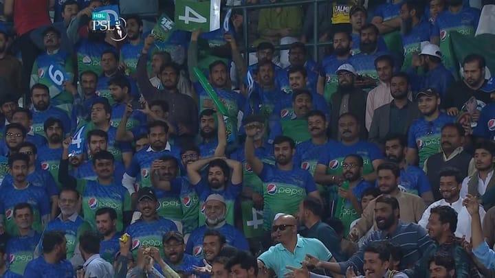 Multan Sultans supporters in Multan Cricket Stadium