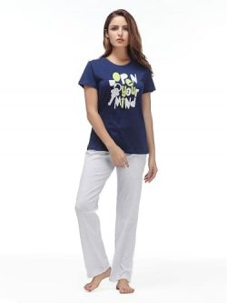 Women Nightwear Set - Trousers & T-Shirt - 1