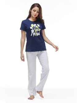 Women Nightwear Set - Trousers & T-Shirt - 2