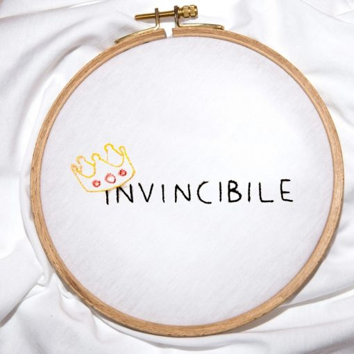 Invincible Handmade Embroidery T-shirt Closeup