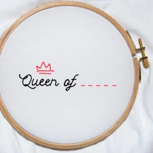 Queen of Hand Embroidery T-shirt closeup