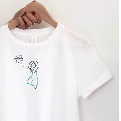 Virgola farfalla Handmade Embroidery T-shirt